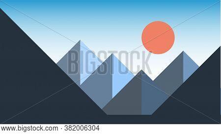 Simplicity Mountain Landscape Modern Style Wallpaper Background. Vector Illustration.