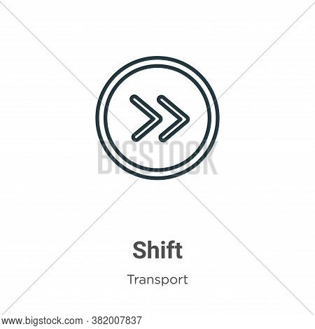 Shift Icon From Transport Collection Isolated On White Background.
