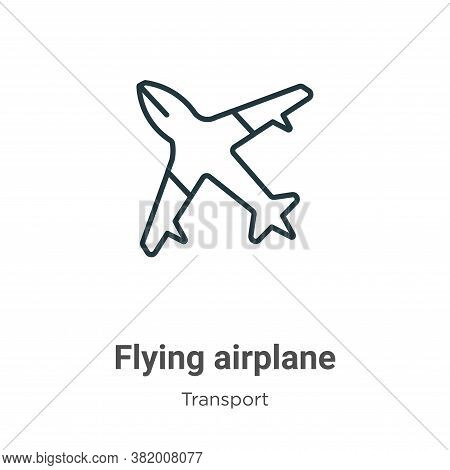 Flying airplane icon isolated on white background from transport collection. Flying airplane icon tr