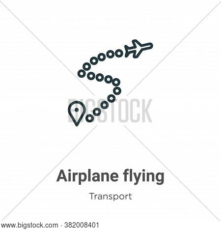 Airplane flying icon isolated on white background from transport collection. Airplane flying icon tr