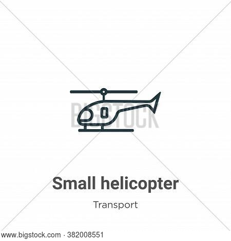 Small helicopter icon isolated on white background from transport collection. Small helicopter icon