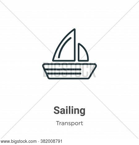 Sailing icon isolated on white background from transport collection. Sailing icon trendy and modern