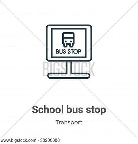 School bus stop icon isolated on white background from transport collection. School bus stop icon tr