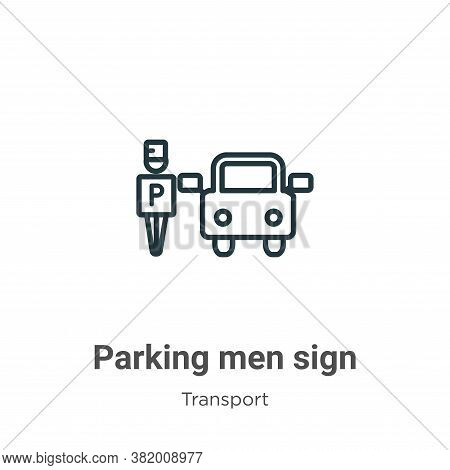 Parking men sign icon isolated on white background from transport collection. Parking men sign icon