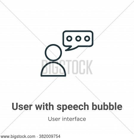 User with speech bubble icon isolated on white background from user interface collection. User with