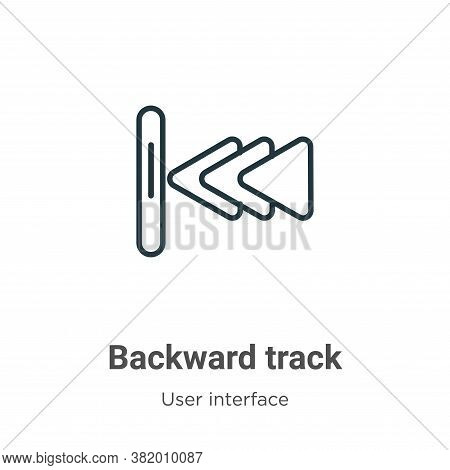 Backward track icon isolated on white background from user interface collection. Backward track icon