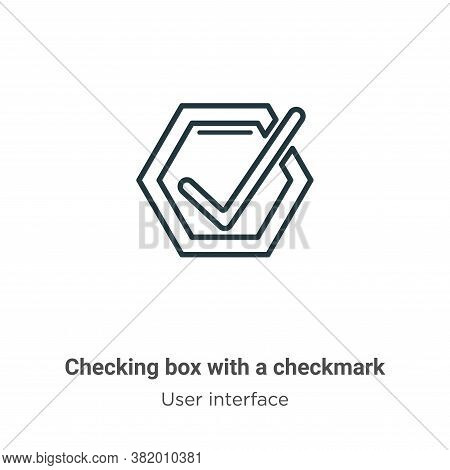 Checking box with a checkmark icon isolated on white background from user interface collection. Chec