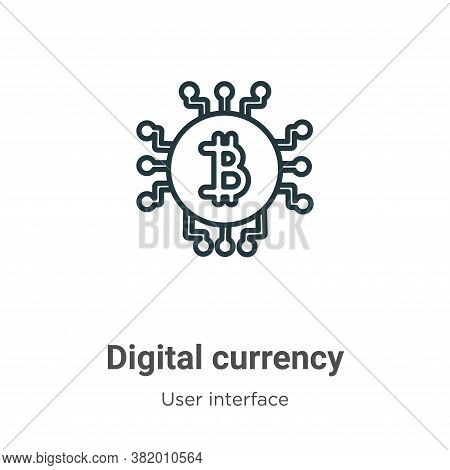 Digital currency icon isolated on white background from user interface collection. Digital currency