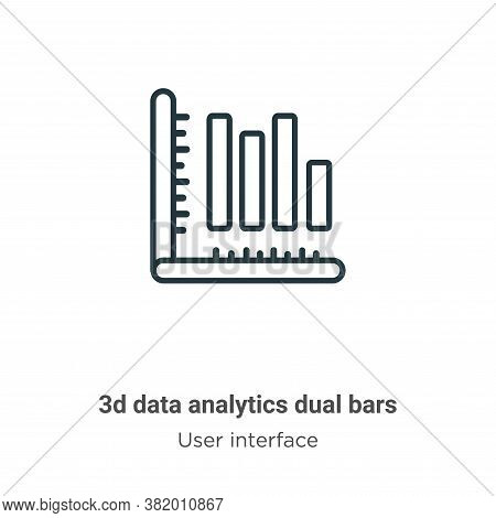 3d data analytics dual bars icon isolated on white background from user interface collection. 3d dat