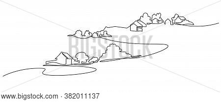 Rural Landscape Continuous One Line Vector Drawing. Lake House In The Woods Hand Drawn Silhouette. C