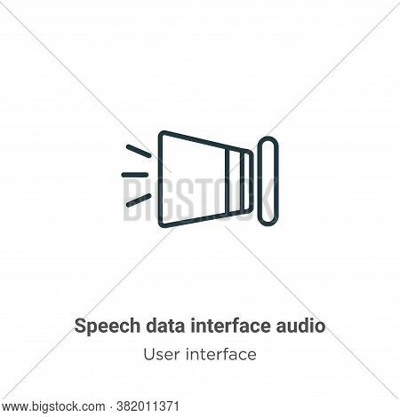 Speech data interface audio icon isolated on white background from user interface collection. Speech