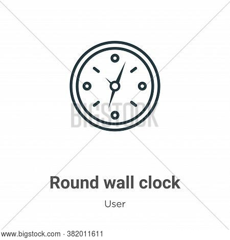 Round wall clock icon isolated on white background from user collection. Round wall clock icon trend