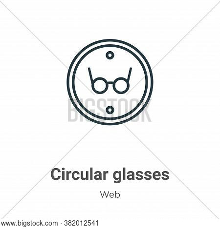 Circular glasses icon isolated on white background from web collection. Circular glasses icon trendy