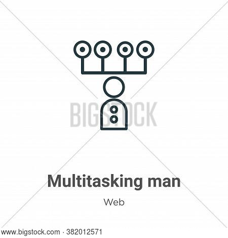 Multitasking Man Icon From Web Collection Isolated On White Background.