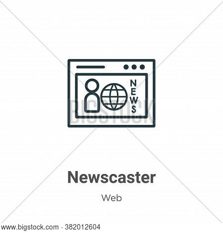 Newscaster Icon From Web Collection Isolated On White Background.