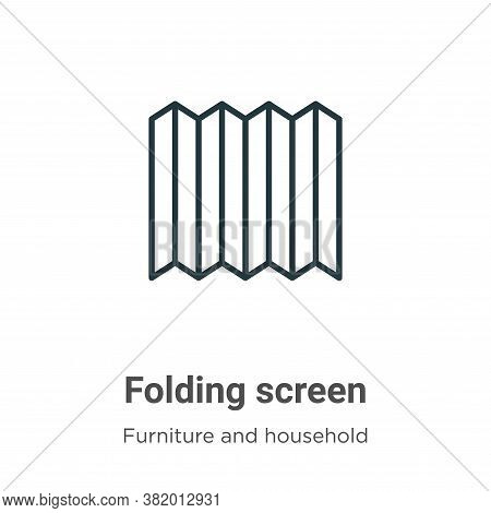 Folding screen icon isolated on white background from furniture and household collection. Folding sc