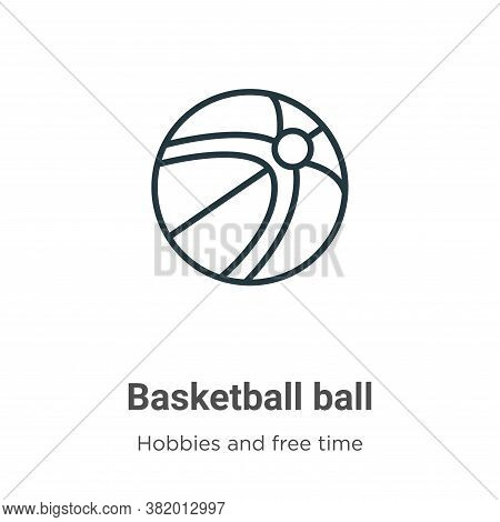 Basketball ball icon isolated on white background from hobbies and free time collection. Basketball