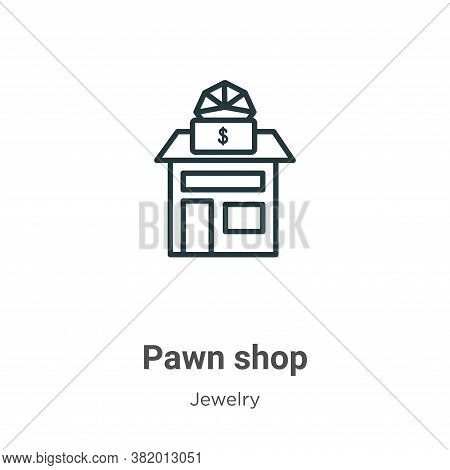 Pawn shop icon isolated on white background from jewelry collection. Pawn shop icon trendy and moder