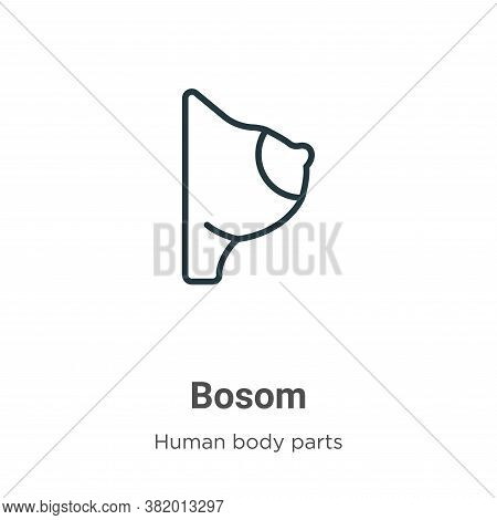 Bosom icon isolated on white background from human body parts collection. Bosom icon trendy and mode