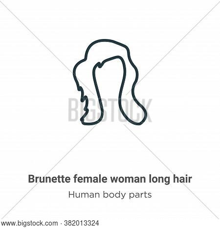 Brunette female woman long hair icon isolated on white background from human body parts collection.