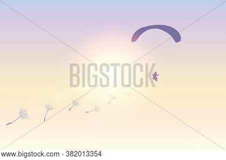 Paraglider Flies With Dandelion Seeds In Sunny Sky Vector Illustration Eps10