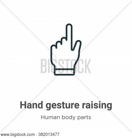 Hand gesture raising the index finger icon isolated on white background from human body parts collec