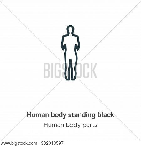 Human body standing black icon isolated on white background from human body parts collection. Human