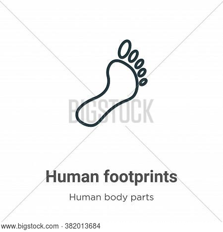 Human footprints icon isolated on white background from human body parts collection. Human footprint