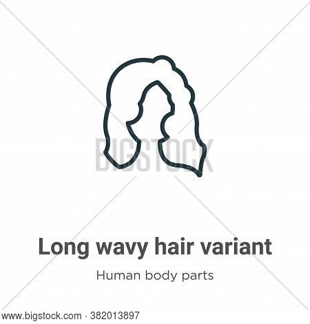 Long wavy hair variant icon isolated on white background from human body parts collection. Long wavy