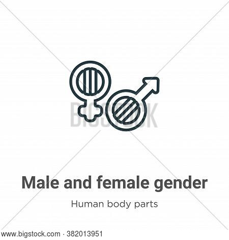 Male and female gender symbols icon isolated on white background from human body parts collection. M