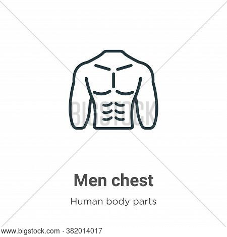 Men chest icon isolated on white background from human body parts collection. Men chest icon trendy