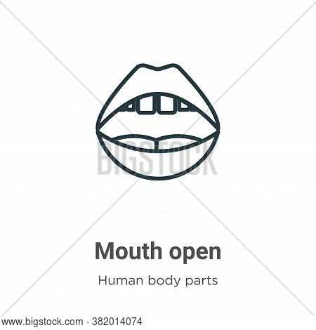 Mouth open icon isolated on white background from human body parts collection. Mouth open icon trend