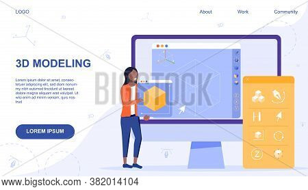 Web Page Template For Online Computer 3d Modelling Showing Woman Holding Printed Model And Assorted