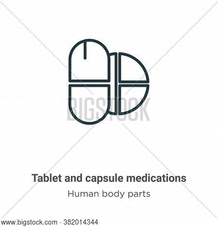 Tablet and capsule medications icon isolated on white background from human body parts collection. T