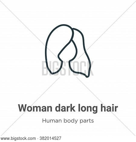 Woman dark long hair icon isolated on white background from human body parts collection. Woman dark