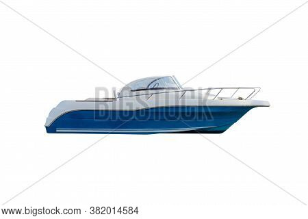 Blue Motor Boat Isolated On A White Background