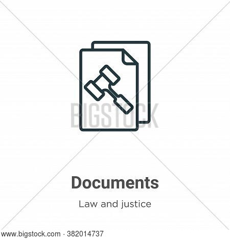 Documents icon isolated on white background from law and justice collection. Documents icon trendy a