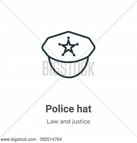 Police hat icon isolated on white background from law and justice collection. Police hat icon trendy