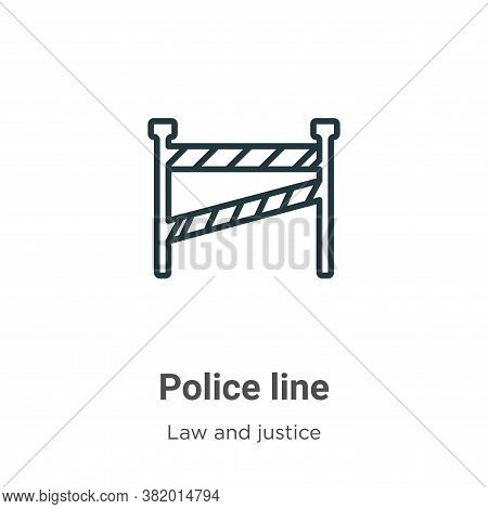 Police line icon isolated on white background from law and justice collection. Police line icon tren