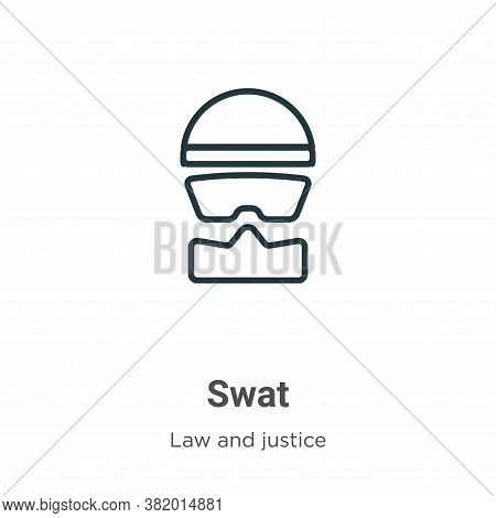 Swat icon isolated on white background from law and justice collection. Swat icon trendy and modern