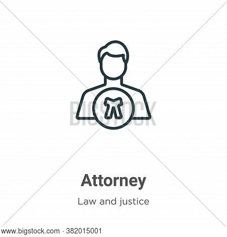 Attorney icon isolated on white background from law and justice collection. Attorney icon trendy and