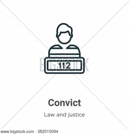 Convict icon isolated on white background from law and justice collection. Convict icon trendy and m