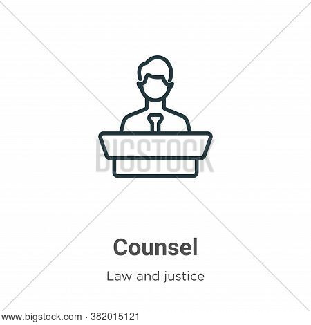 Counsel Icon From Law And Justice Collection Isolated On White Background.