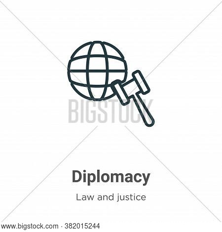 Diplomacy icon isolated on white background from law and justice collection. Diplomacy icon trendy a