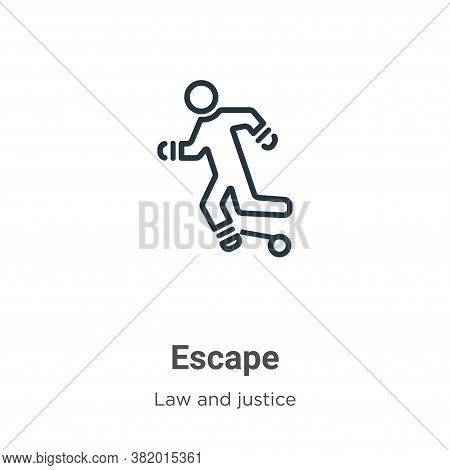 Escape icon isolated on white background from law and justice collection. Escape icon trendy and mod