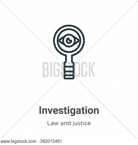 Investigation icon isolated on white background from law and justice collection. Investigation icon