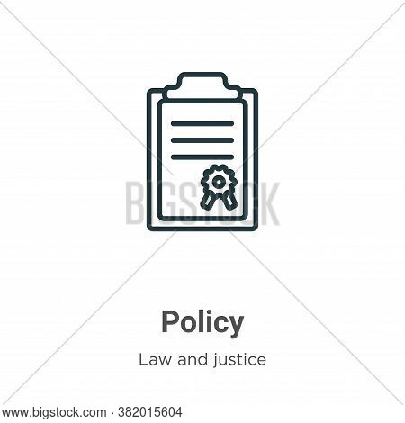 Policy icon isolated on white background from law and justice collection. Policy icon trendy and mod