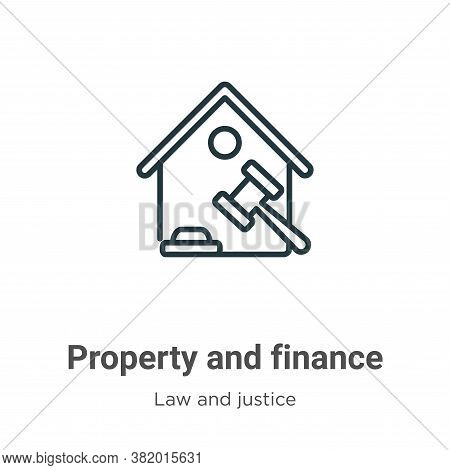 Property and finance icon isolated on white background from law and justice collection. Property and