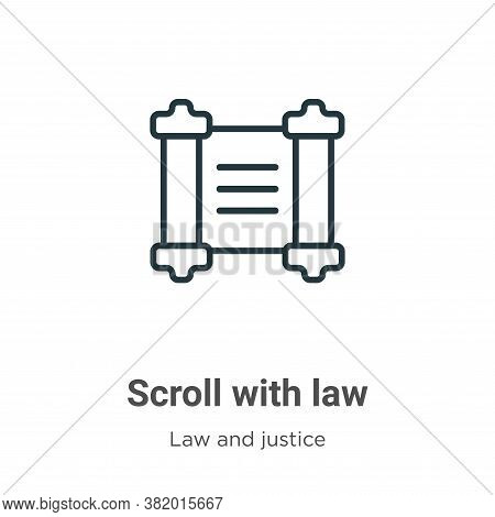 Scroll with law icon isolated on white background from law and justice collection. Scroll with law i