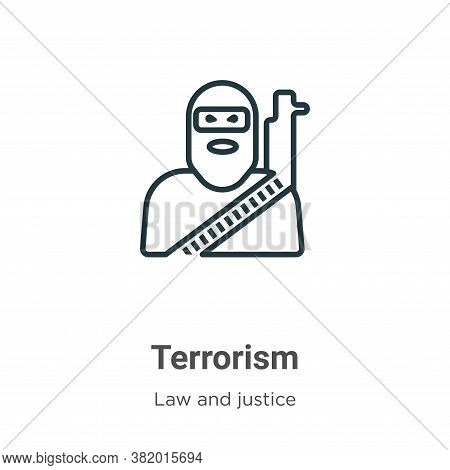 Terrorism icon isolated on white background from law and justice collection. Terrorism icon trendy a